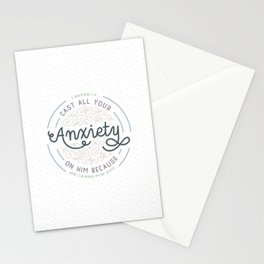 """Cast All Your Anxiety on Him"" Bible Verse Print Stationery Cards"