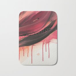 Entangled [3]: a vibrant, colorful abstract mixed-media piece in reds, pinks, black and white Bath Mat