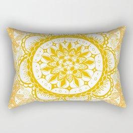Orange Kaleidoscope Patterned Mandala Rectangular Pillow