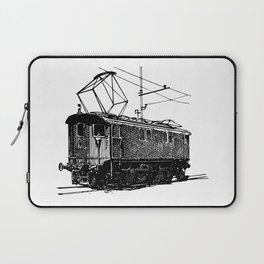 Old City Tram Carriage Detailed Illustration Laptop Sleeve