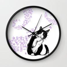Tuxedo cat and dragonflies Wall Clock
