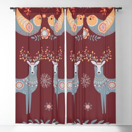 Nordic Winter Red Blackout Curtain