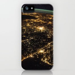 284. Iberian Peninsula at Night iPhone Case