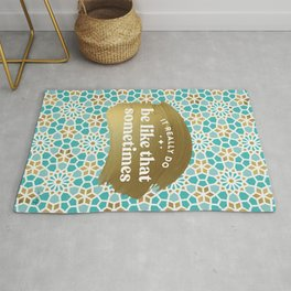 It Really Do Be Like That Sometimes – Mint & Gold Palette Rug