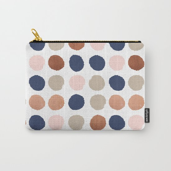 Rose Gold navy copper sparkle modern dots polka dots rosegold trendy pattern cell phone accessories Carry-All Pouch