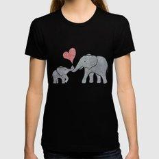 Elephant Hugs Womens Fitted Tee Black MEDIUM