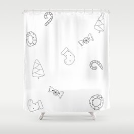 Winter Holiday Themed Illustration Merry Christmas! Black White Shower Curtain
