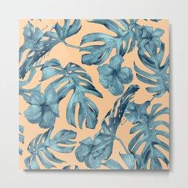 Island Life Hibiscus Palm Apricot Teal Blue Metal Print