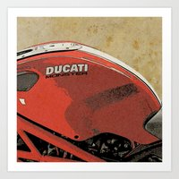 ducati Art Prints featuring Ducati Monster by Larsson Stevensem