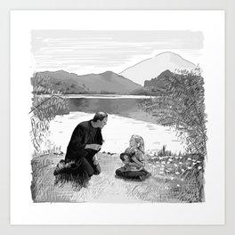 Frankenstein Scene Illustration  Art Print
