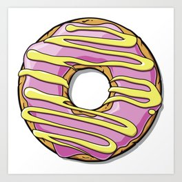 Donut with Frosting and Icing - Pink Yellow Art Print