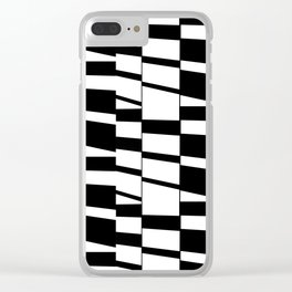 Slanting Rectangles - Black and White Graphic Art by Menega Sabidussi Clear iPhone Case