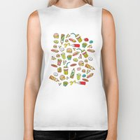 junk food Biker Tanks featuring Awesome retro junk food icons by Little Smilemakers Studio