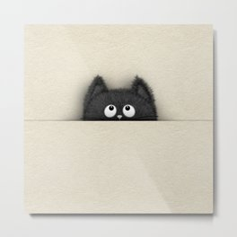 Cute Fluffy Black cat peaking out Metal Print