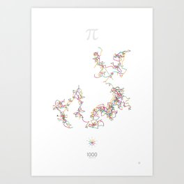 The Art in Pi - 1000 digits walk Art Print