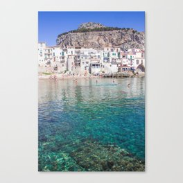 Azure water in Cefalu Canvas Print
