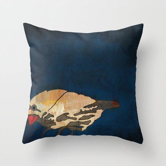 Finch on Blue Throw Pillow