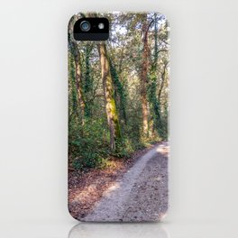 Country road surrounded by a forest in a natural park during autumn iPhone Case