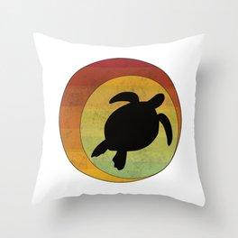 Retro Style Sea Turtle Silhouette Geometric Eclipse Abstract design Throw Pillow