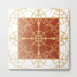 Copper Nouveau Fretwork Metal Print