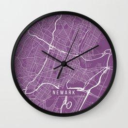 Newark Map, USA - Purple Wall Clock