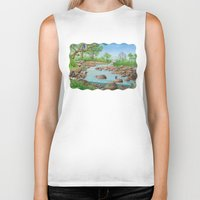 river Biker Tanks featuring  river  by Amy Fan