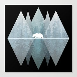 Misty Forest Mountain Bear Canvas Print