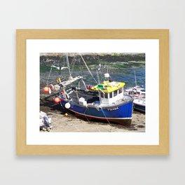Fishing boat at Boscastle harbour Framed Art Print