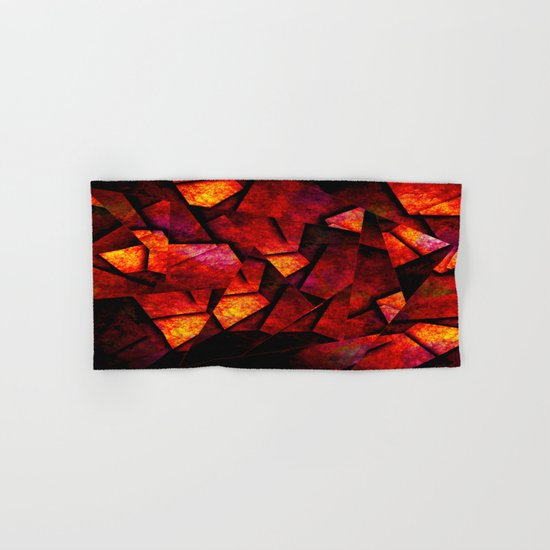 Fragments Of Fire - Abstract, geometric, fragmented pattern Hand & Bath Towel