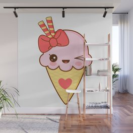 Kawaii Strawberry Ice Cream Cone Wall Mural