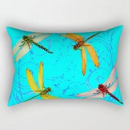 DRAGONFLY WORLD IN BLUE ABSTRACT ART DESIGN Rectangular Pillow