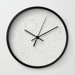 White Moroccan Tiles Pattern Wall Clock