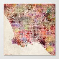 los angeles Canvas Prints featuring Los angeles by MapMapMaps.Watercolors
