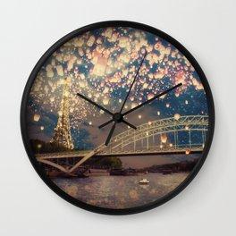 Love Wish Lanterns over Paris Wall Clock