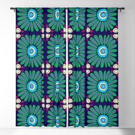 Green and Purple Daises Blackout Curtain