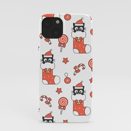 cute cartoon black baby cat in christmas gift sock and holiday elements pattern iPhone Case