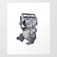 koala Art Prints featuring koala  by Laura Graves