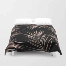 Rosegold Palm Tree Leaves on Midnight Black Duvet Cover