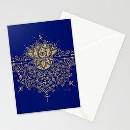 Sacred Lotus Mandala – Navy & Gold Palette Stationery Cards