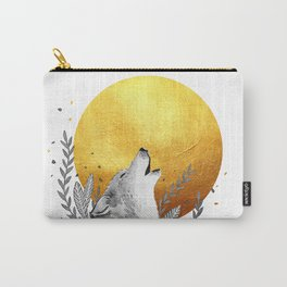 Grey wolf howling to gold moon Carry-All Pouch