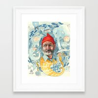 life aquatic Framed Art Prints featuring AQUATIC by busymockingbird