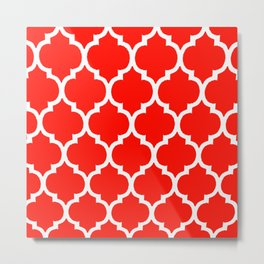 MOROCCAN RED AND WHITE PATTERN Metal Print