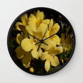 Yellow Carolina Jasmine Blossom Close Up Wall Clock