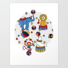 Little Circus Stars on White Art Print
