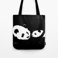 pandas Tote Bags featuring Pandas by Elena Medero