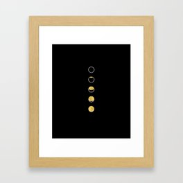 Moon Phase Wall Tapestry, Lunar Cycle, Black and Gold, Black and White, Gold Circles, Geometric Framed Art Print