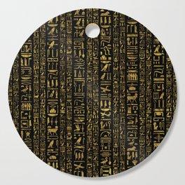 Egyptian hieroglyphs vintage gold on black Cutting Board