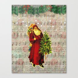 Jolly Old Saint Nicholas Christmas Vintage Santa Claus Wall Art Canvas Print