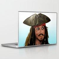 jack sparrow Laptop & iPad Skins featuring Jack Sparrow by San Fernandez
