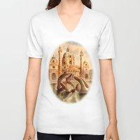 vienna V-neck T-shirts featuring Karlskirche, Vienna, Austria by Vargamari